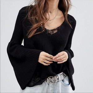 Free People Damsel Bell Sleeves Cable Knit Black